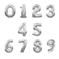 """Фольгированные шары """"Цифры"""" серебрянные (102см)"""