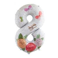 """Фольгированная цифра """"8 Марта цветы"""" (109 см)"""