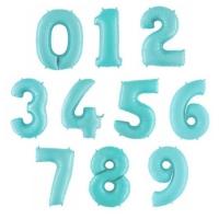 """Фольгированные шары """"Цифры"""" голубые (102 см)"""