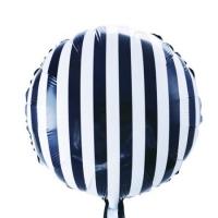 """Фольгированный шар круг """"Черные полосы"""" (46 см)"""