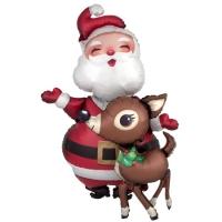"""Ходячий шар """"Санта и Олень"""" (121 см)"""