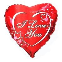 """Фольгированный шар сердце """"I Love You"""" (45см)"""