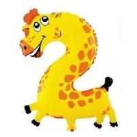 """Воздушный шар цифра """"2"""" Жираф  (102 см)"""