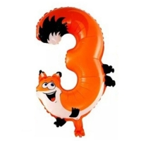 """Воздушный шар цифра """"3"""" Лиса  (102 см)"""