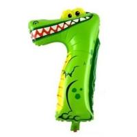 """Воздушный шар 102 см цифра """"7"""" Крокодил"""