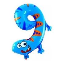 """Воздушный шар цифра """"9"""" Ящерица (102 см)"""