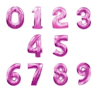 """Фольгированные шары """"Цифры"""" розовые (102см)"""
