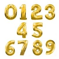 """Фольгированные шары """"Цифры"""" золотые (102см)"""