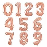 """Фольгированные шары """"Цифры"""" розовое золото (102 см)"""
